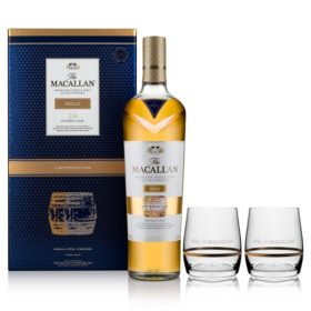 The Macallan GOLD Double Cask with glasses and GP Brands